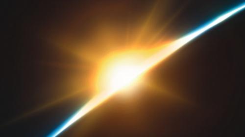 Une lumière sur l'horizon dans l'espace
