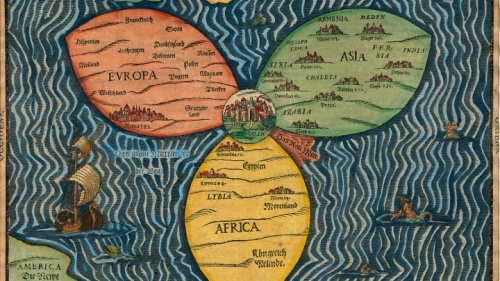 Une carte stylisée de Heinrich Bünting (1545-1606). Cette carte a la forme d'une feuille de trèfle (les trois continents classiques de l'Europe, l'Asie, et l'Afrique), avec Jérusalem au centre.
