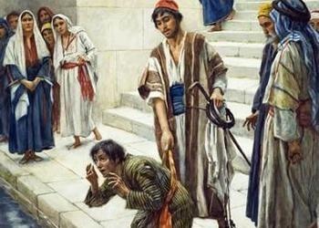 Un homme (vraisemblablement Jésus-Christ) et un homme aveugle au réservoir de Siloé