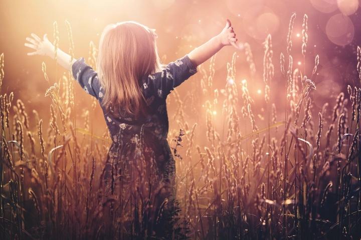 Une petite fille dans un champs de blé